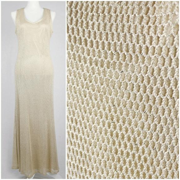 4d043259 Vintage Dresses | Lovely Vtg 90s Ivory Gold Mesh Net Gown Maxi Dress ...